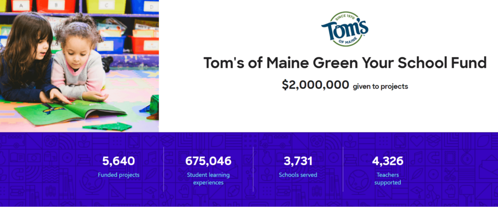 Tom's of Maine green your school fund stats